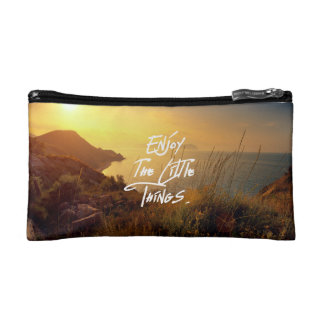 """""""Enjoy the little Things""""  Quote Sunset Sea View Cosmetics Bags"""