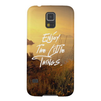 """Enjoy the little Things""  Quote Sunset Sea View Galaxy S5 Covers"