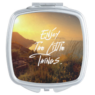 """Enjoy the little Things""  Quote Sunset Sea View Makeup Mirrors"