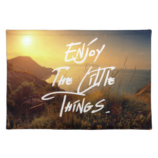 """""""Enjoy the little Things""""  Quote Sunset Sea View Place Mats"""