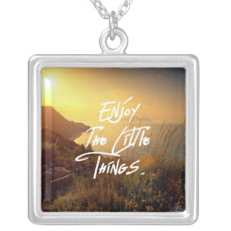 """Enjoy the little Things""  Quote Sunset Sea View Silver Plated Necklace"