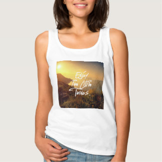 """""""Enjoy the little Things""""  Quote Sunset Sea View Singlet"""