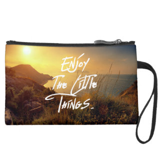 """""""Enjoy the little Things""""  Quote Sunset Sea View Suede Wristlet"""