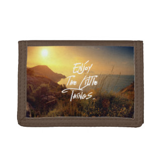 """""""Enjoy the little Things""""  Quote Sunset Sea View Tri-fold Wallets"""