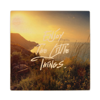 """""""Enjoy the little Things""""  Quote Sunset Sea View Wood Coaster"""