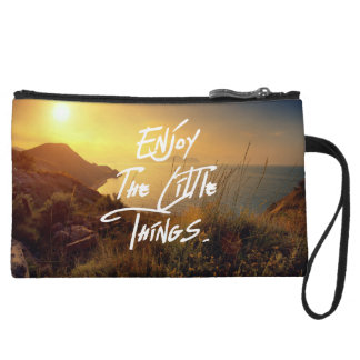 """""""Enjoy the little Things""""  Quote Sunset Sea View Wristlet"""