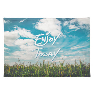 """""""Enjoy Today"""" Green Blue Sky Typography Quote Placemat"""