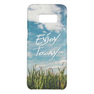 """Enjoy Today"" Quote Green Field Blue Sky Horizon Case-Mate Samsung Galaxy S8 Case"
