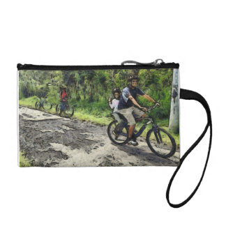 Enjoying cycling on a rough track coin wallet