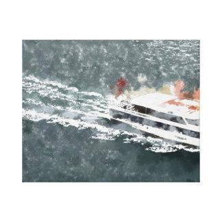 Enjoying on a fast boat canvas print