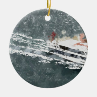 Enjoying on a fast boat ceramic ornament