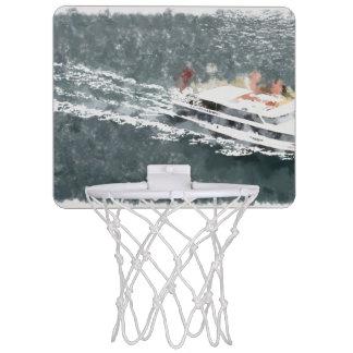Enjoying on a fast boat mini basketball hoop