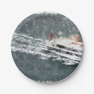 Enjoying on a fast boat paper plate