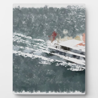 Enjoying on a fast boat plaque