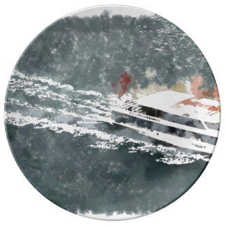Enjoying on a fast boat plate