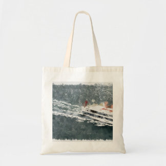 Enjoying on a fast boat tote bag