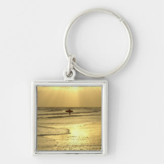 Enjoying the Beach at Sunset Silver-Colored Square Key Ring