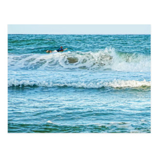 Enjoying the surf in summer greeting card