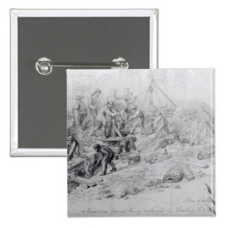 Enlarging the sewers at Moorfields, London, 1841 15 Cm Square Badge