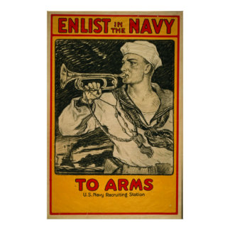 Enlist In The Navy Vintage Poster