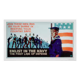 Enlist Navy, the 1st Line of Defense (US02160) Poster