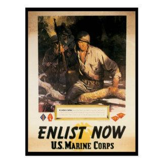 Enlist Now World War II Postcard
