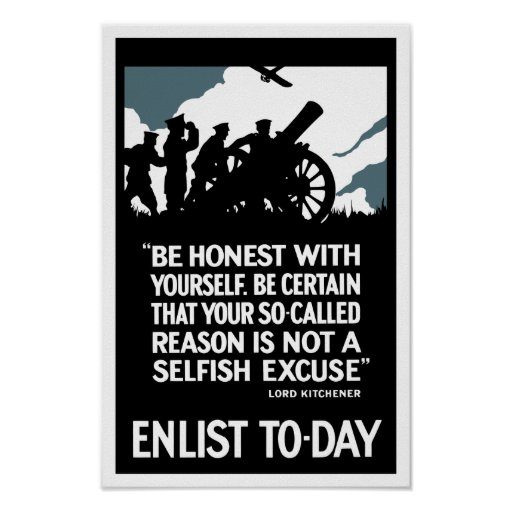 Enlist To-Day -- Lord Kitchener WWI Print