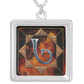 "enochian letter ""ged"" (g) silver plated necklace"
