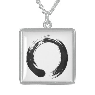 Enso Circle Medium Sterling Silver Square Necklace