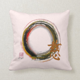 Enso - Compassion & Piety, Sumi-e ink painting Cushion