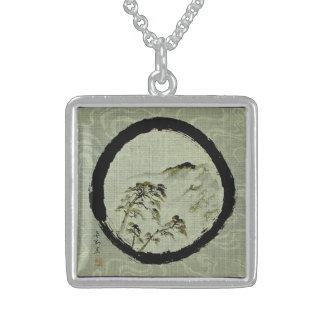Enso Landscape Sterling Silver Necklace, Sterling Silver Necklace