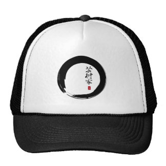 "Enso with Japanese for ""Artist"" Mesh Hats"