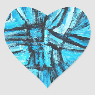 Entangled Cross (linear expressionism) Heart Stickers