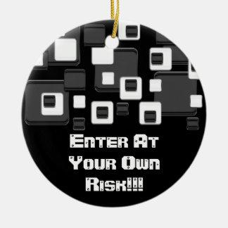 Enter at your own risk, black & white squares round ceramic decoration