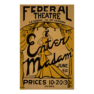 Enter Madam At Federal Theatre WPA Vintage Poster