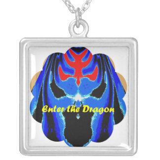 Enter the Blue Dragon Square Pendant Necklace