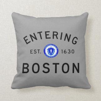 Entering Boston Throw Pillow