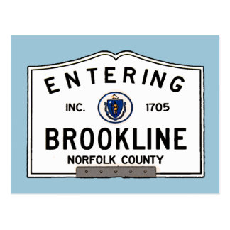 Entering Brookline Postcard
