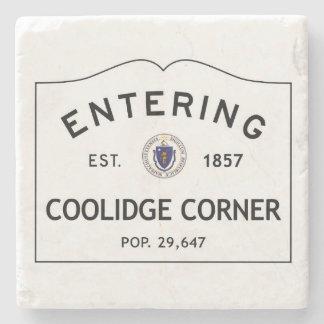 Entering Coolidge Corner Marble Coaster Stone Beverage Coaster
