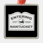 Entering Nantucket Est. 1659 Sign in Black & White Christmas Ornaments