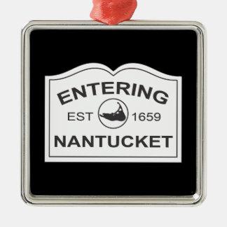 Entering Nantucket Est. 1659 Sign in Black & White Christmas Ornaments