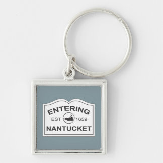 Entering Nantucket Keepsake Sign White & Blue Silver-Colored Square Key Ring