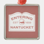 Entering Nantucket Welcome Sign in Nantucket Red