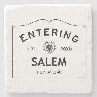 Entering Salem Botticino Marble Coaster