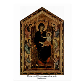 Enthroned Madonna And Angels By Duccio Postcard