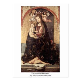 Enthroned Madonna By Antonello Da Messina Postcard