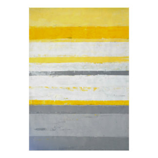 'Enthused' Grey and Yellow Abstract Art Poster