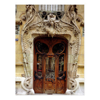 Entrance door to the apartments postcard