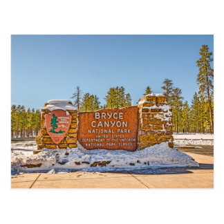 Entrance Sign for Bryce Canyon National Park Postcard