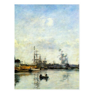 Entrance to the harbor by Eugene Boudin Postcard